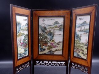 Antique Chinese Porcelain Plaques With Signed Scholar Mountain Scenes photo