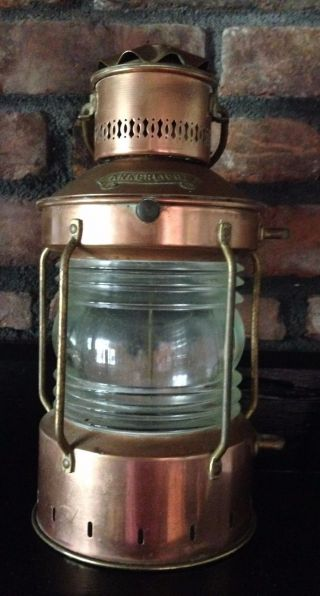 Vintage Copper & Brass Ankerlicht Lantern Nautical Ship ' S Light,  Holland photo