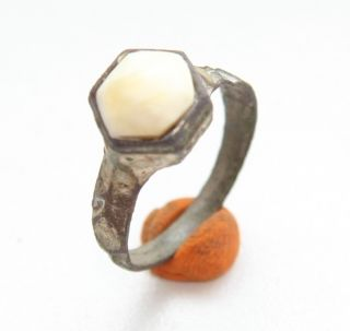 Ancient Medieval Bronze Finger Ring With Amber Inlay (may10) photo