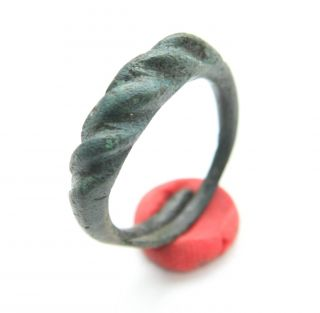 Ancient Viking Pseudo Twisted Bronze Ring  Namejs