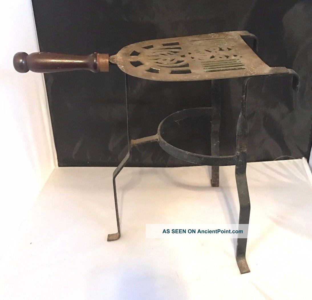 Vintage Wrought Iron Brass Fireplace Fender Trivet Pot Kettle Warming Stand Trivets photo