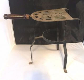 Vintage Wrought Iron Brass Fireplace Fender Trivet Pot Kettle Warming Stand photo