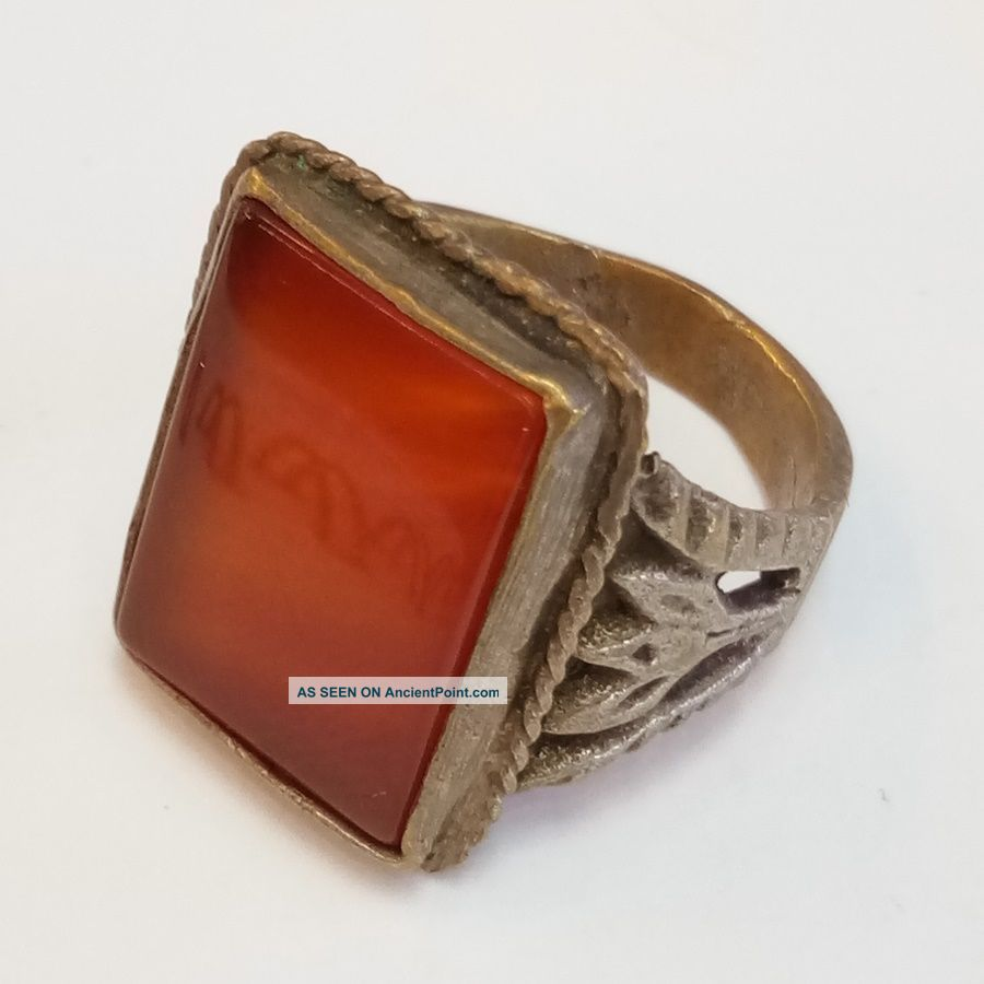 Rare Old Roman Silver Ring Agate Stone Ring 4 Roman photo