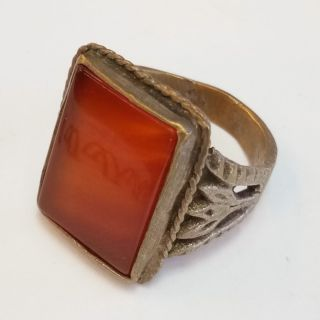 Rare Old Roman Silver Ring Agate Stone Ring 4 photo