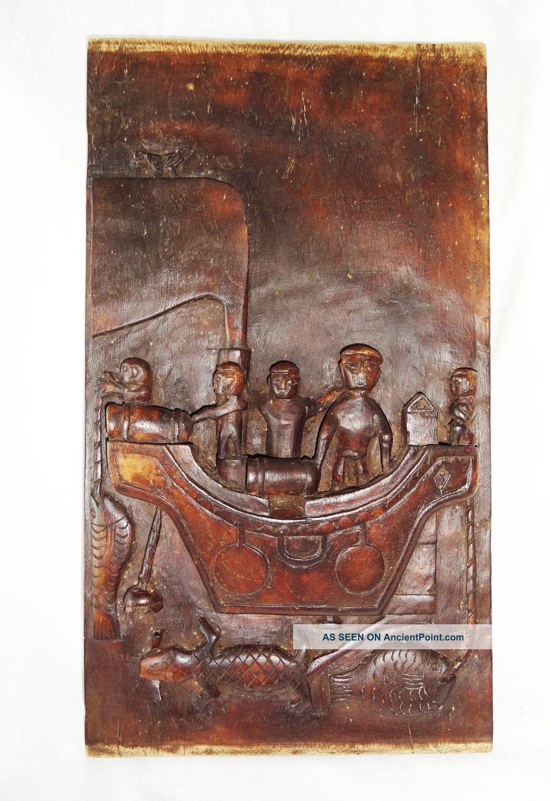 Indonesian Nias Island Tribal Carved Panel Soul Ship W.  Ancestors (eic) Pacific Islands & Oceania photo