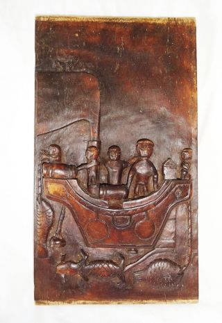 Indonesian Nias Island Tribal Carved Panel Soul Ship W.  Ancestors (eic) photo