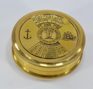 Antique Vintage Maritime Brass 100 Years Calender Pocket Compass Reproduction photo