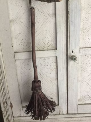 Rare Antique Child Size Primitive Handmade Shaved Broom Early Brown Calico Aafa photo