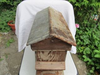 Antique Primitive Old Hand Made Wooden Beehive With 3 Bee Frames Metal Roof photo