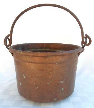 Antique Copper Dovetail Hanging Kettle Cauldron Apple Butter Pot Wrought Iron photo