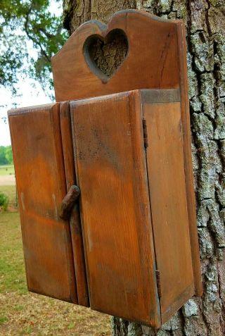 Vintage Wall Cabinet Cupboard Pine Wood Latch Primitive Farmhouse Heart photo
