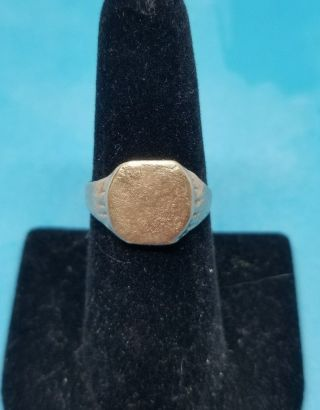 Ancient Byzantine Era Bronze Signet Ring Sz 7.  25 Restored photo