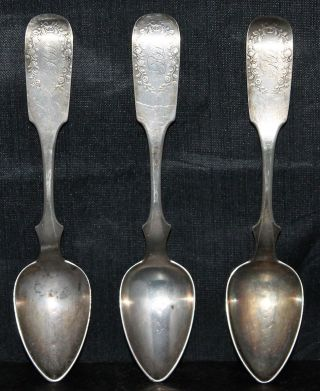 3 John Fries Philadelphia 1850 Coin Silver Spoons photo