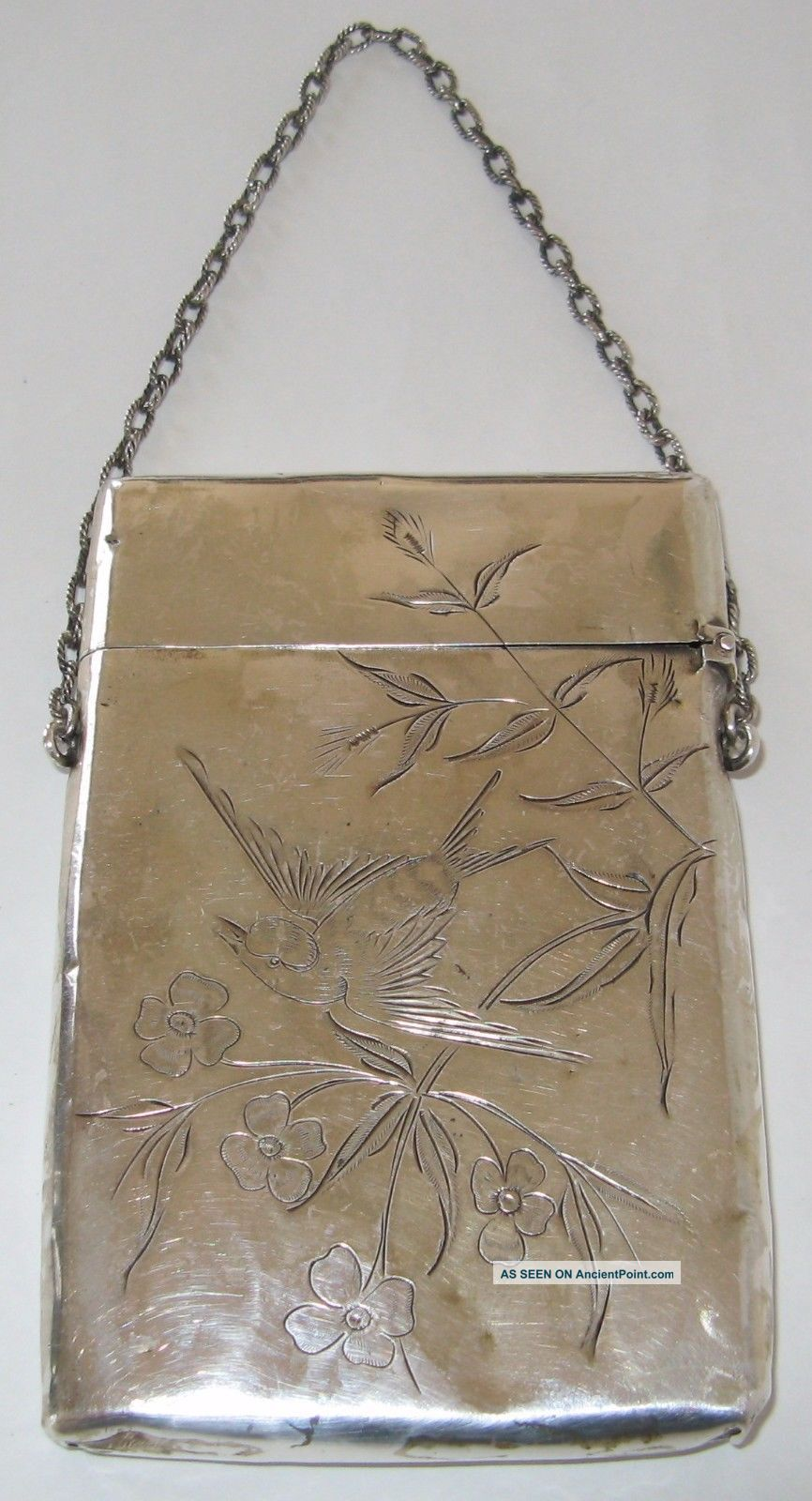 Fine Antique Gorham Sterling Silver Card Case Hand Engraved Ca.  1880 Card Cases photo