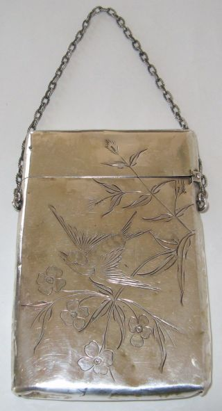 Fine Antique Gorham Sterling Silver Card Case Hand Engraved Ca.  1880 photo