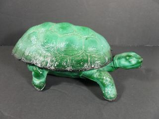 Art Deco Czech Bohemian Malachite Glass Turtle Trinket Box,  Schlevogt - Ingrid photo