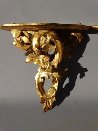 Pair (2) Antique Italian Rococo Style Carved Wood Old Gilt Corbel Wall Shelf photo