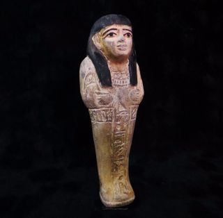 Rare Huge Ancient Egyptian Painted Royal Ushabti Shabti 1840 - 1760 Bc photo