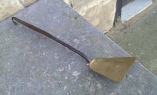 Antique Hand Wrought Iron And Brass Spatula Circa 1830 photo