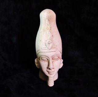Rare Ancient Egyptian Carved Limestone Pharaoh Wearing Crown 1782 - 1570 Bc photo