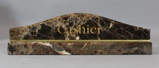 Vintage Mid - Century Modern Emperador Brown/gray Marble Cashier Desktop Sign,  Nr photo