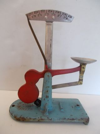 Antique Zenith Cast Iron Egg Grader Scale Red & Blue Earlville Ny Usa Untouched photo