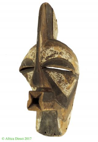 Songye Mask Male Kifwebe Striated Congo African Art photo