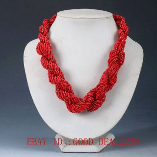 100 Natural Red Coral Handwork Carved Decorated Necklaces Qw0081 photo