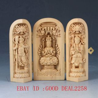 Chinese Boxwood Highly Difficulty Carved Thousand - Hand Kwanyin Floding Box Qw110 photo