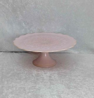 Fenton Glass Rose Pastel Pink Milkglass Spanish Lace Cake Footed Plate Dessert photo