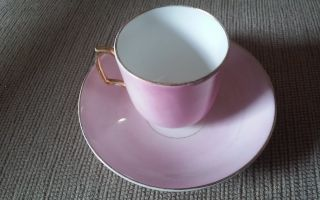 Demi Tasse Cup/saucer Germany Pink Gold Trim 1900 - 1940 Ceramic & Porcelain photo