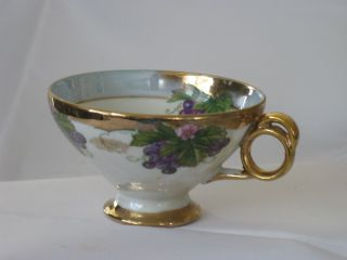 Antique Iridescent Multi - Color Footed Cup Ceramic & Porcelain photo