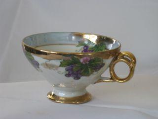 Antique Iridescent Multi - Color Footed Cup Ceramic & Porcelain photo
