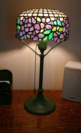 American Antique Leaded Glass Boudoir Lamp.  Handel Duffner Unique Era photo
