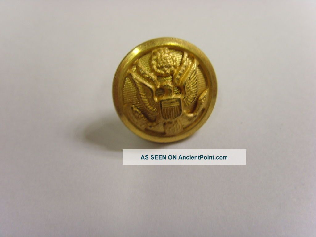 Vintage Usa Great Seal Gold Tone Metal Picture Button City Button 49258 Buttons photo