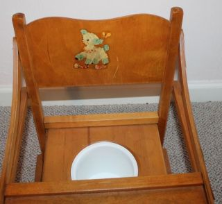 Vintage/antique Oak Baby/child Wood Potty Training Chair photo
