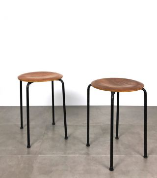 Pairing Mid Century Danish Modern Teak Stacking Stools Tables Arne Jacobsen Era photo