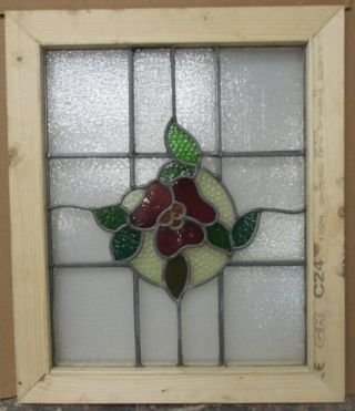 Mid Sized Old English Leaded Stained Glass Window Pretty Floral 21.  75