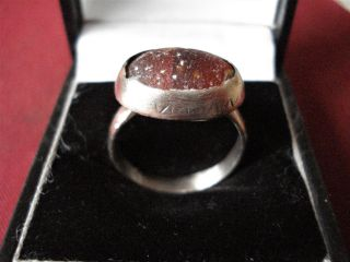 Roman / Byzantine Silver Ring With Orange Glass - - Detector Find photo