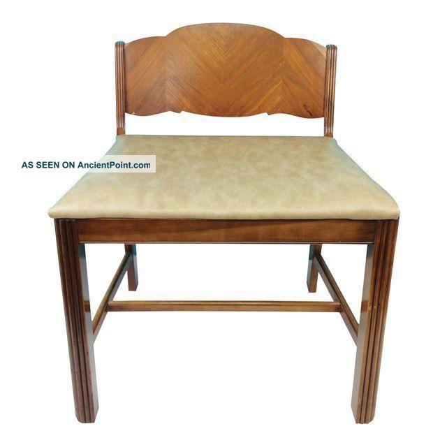 Vintage Art Deco Waterfall Wood Vanity Bench Seat Dressing Chair 1900-1950 photo