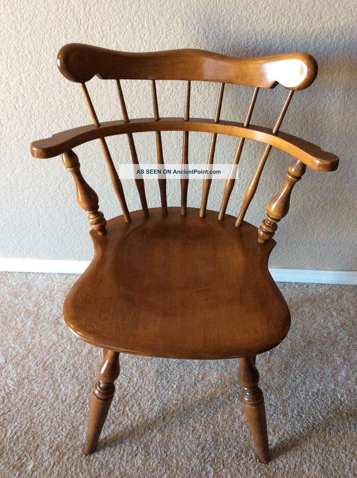 Vintage Ethan Allen Swivel Maple Nutmeg Comb Back Desk Chair Post-1950 photo