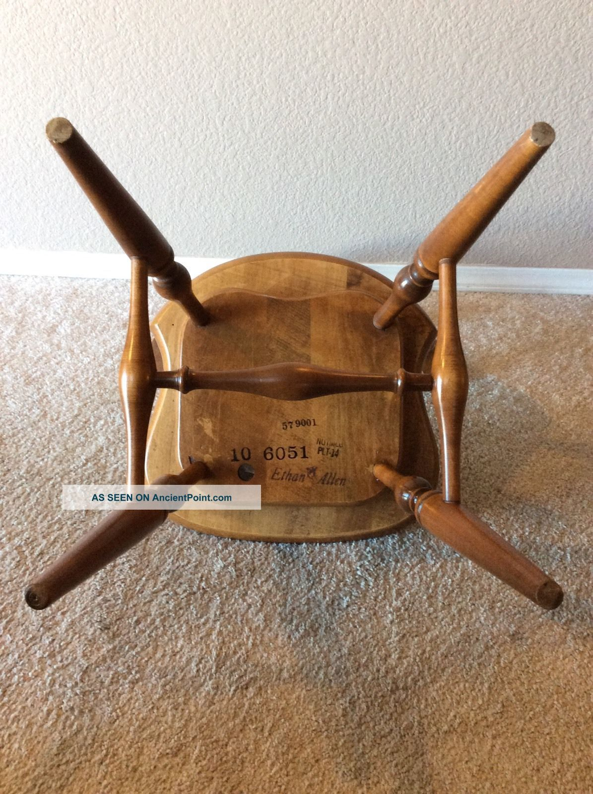 Vintage Ethan Allen Swivel Maple Nutmeg Comb Back Desk Chair