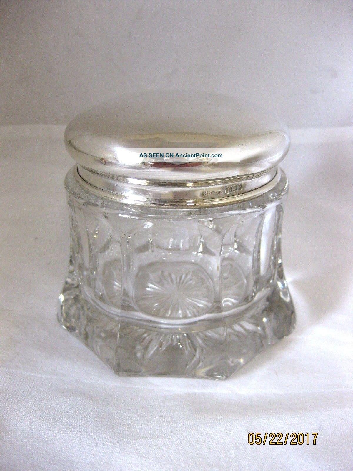 Antique Solid Silver Large Dressing Table Jar Hallmarked London 1911 Bottles photo