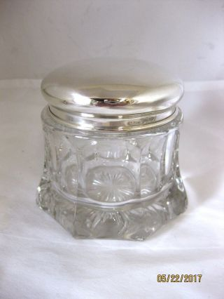 Antique Solid Silver Large Dressing Table Jar Hallmarked London 1911 photo