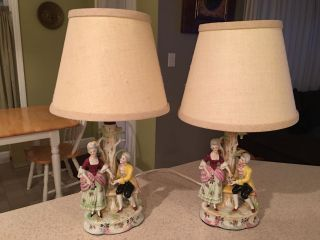 Pair Vintage Porcelain Figurine Figural Table Lamps 15