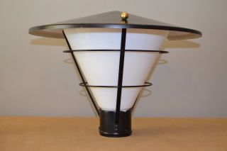 Nos Vintage Mid - Century Outdoor Lantern Lamp Black Metal White Glass Brass Knobs photo