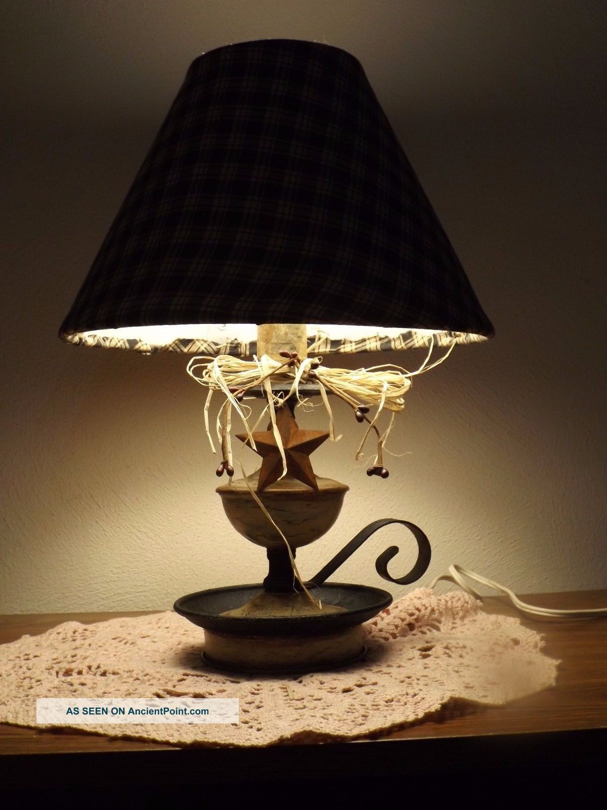 Primitive Crackle Metal Candle Style Lamp Rustic Country