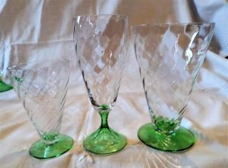 Depression Glass Tiffin Clear Optic Green Base 14 Pc 2 Juice 8 Wine 4 Parfait photo
