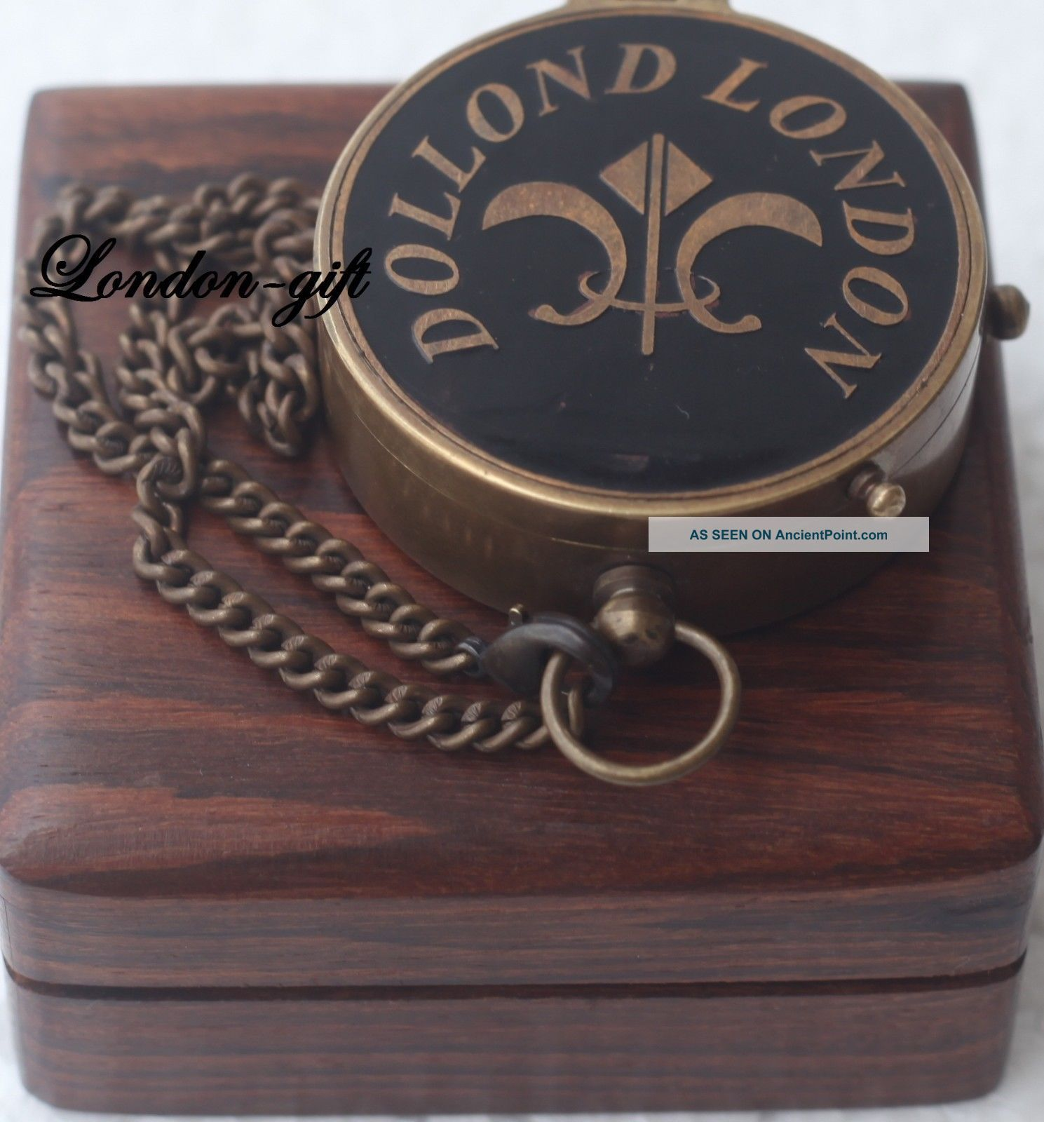 Antique Style Brass Compass Flat Compass Nautical Compass W/wood Case Compasses photo