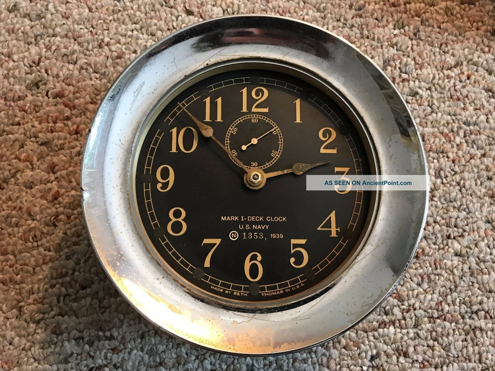 Vintage 1939 Chrome Seth Thomas U.  S.  Navy Mark I Deck Ships Boat Clock Clocks photo